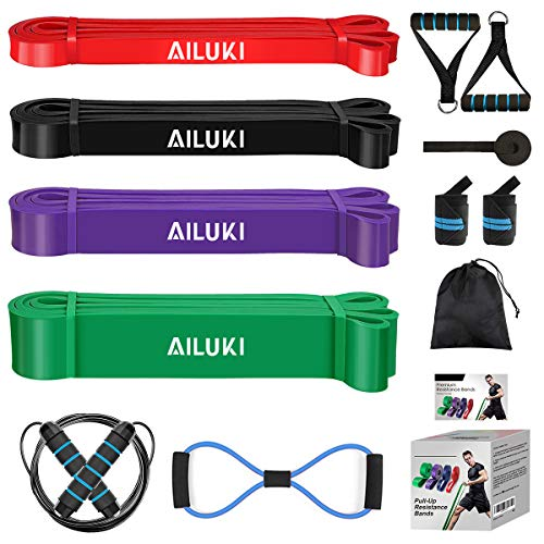 AILUKI Fitnessband Widerstandsband Set Fitnessbänder Gymnastikband für Krafttraining Crossfit Trainingsband...