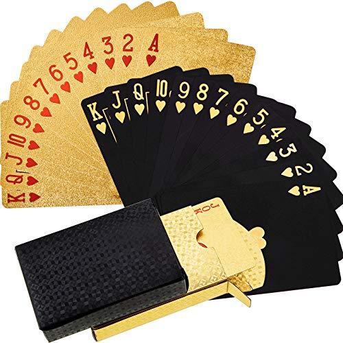 Sumind 2 Decks Schwarz und Gold Spielkarte wasserdichte Pokerkarten Kunststoff PET Pokerkarte Neuheit Poker...