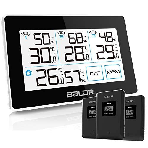 Konsen Wetterstation mit 3 Außensensoren funk, Thermometer-Hygrometer innen/ausen Raumthermometer...