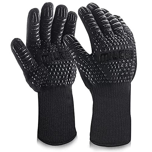 MILcea Grillhandschuhe BBQ Handschuhe Ofenhandschuhe Hitzebeständige Grill Lederhandschuhe Backhandschuhe...