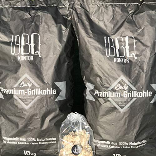20kg (2x10kg) BBQKontor Premium Buchenholzkohle - 100% Naturbuche - Grillkohle Holzkohle Buche...