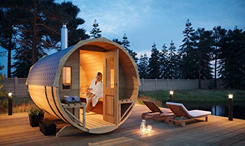 FinnTherm Fass-Sauna Sam, unbehandelt/Natur, inkl. Holz-Ofen (18 kW), 40 mm Wandstrke (219,5 cm x 280 cm)