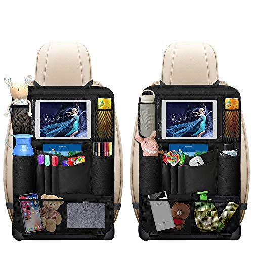 Auto Rückenlehnenschutz, omitium 2 Stück Auto Rücksitz Organizer für Kinder mit Große Taschen und iPad...