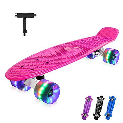 BELEEV Skateboard 22 Zoll Komplette Mini Cruiser Skateboard für Kinder Mädchen Jugendliche Erwachsene, Led...