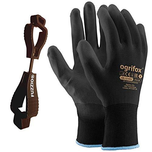 24 Paar Ogrifox PU besichtet Arbeitshandschuhe mit FUZZIO Handschuh-Klammern (XL-10, Schwarz)