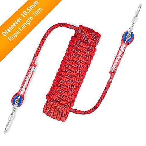 Awroutdoor Nylon Seil Klettern Sicherheitsseil Durchmesser 10.5mm mit Karabiner Lagergewicht 1200kg für...