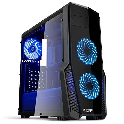 Empire Gaming - PC-Gehäuse Gaming WarFare Schwarz LED-Leuchte Blau: USB 3.0, 3 Lüfter LED-Leuchte 120 mm,...