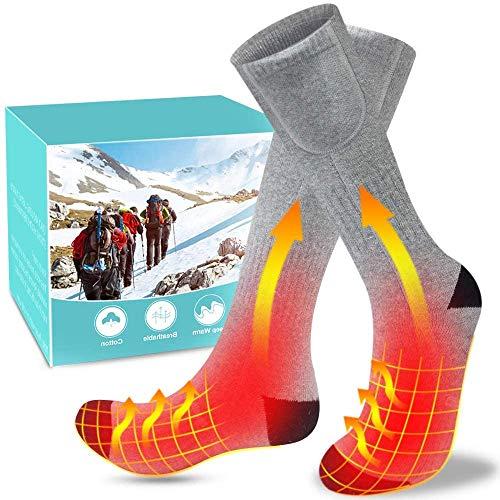 XBUTY Beheizte Socken für Damen und Herren,3.7V 4800mAh Elektrische Warme Socken mit Akku Baumwolle...