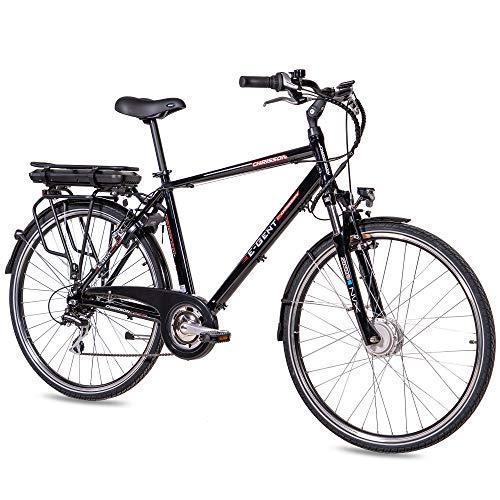 CHRISSON 28 Zoll E-Bike Trekking und City Bike für Herren - E-Gent schwarz mit 8 Gang Acera Kettenschaltung -...