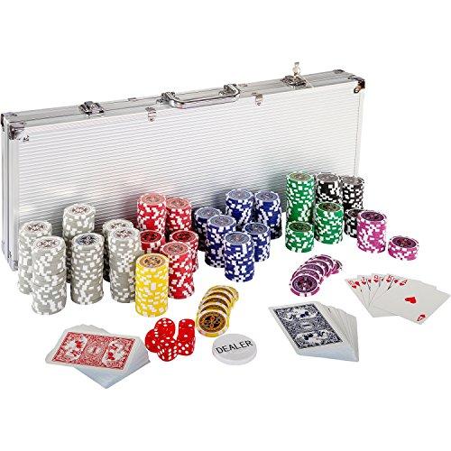 Ultimate Pokerset mit 500 hochwertigen 12 Gramm METALLKERN Laserchips, inkl. 2x Pokerdecks, Alu Pokerkoffer,...