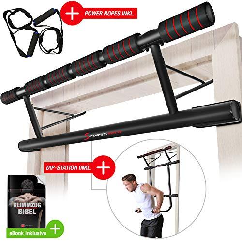 Sportstech Einzigartiges Kombi-Paket! 4in1 Klimmzugstange inkl Dip Bar & Power Ropes, klappbare Trreck KS500,...