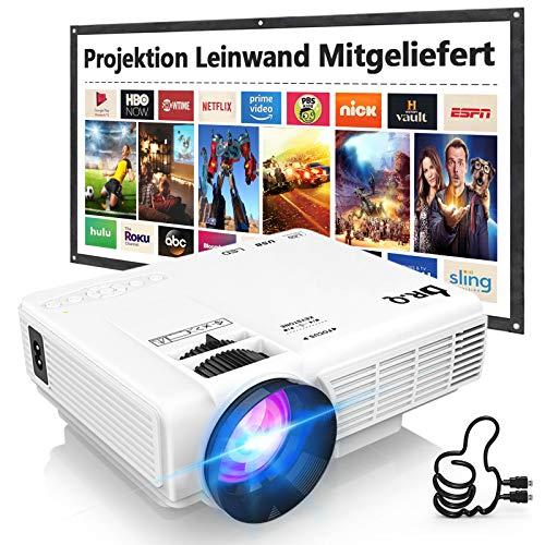 Beamer, DR.Q HI-04 Beamer mit 100 Zoll Screen, Mini Beamer 5000 Lumen Unterstützt 1080P Full HD, Native 720P...