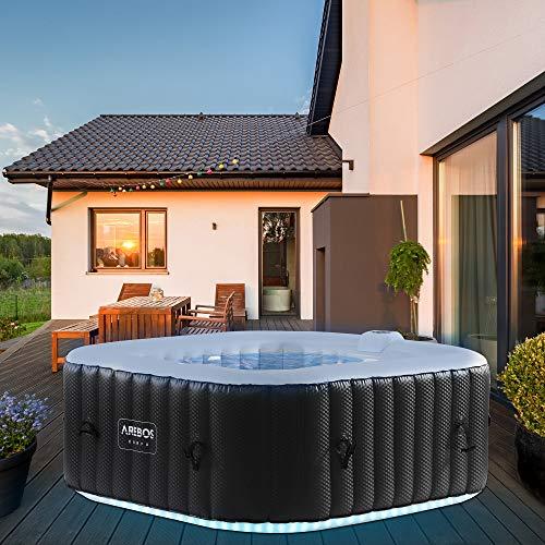 Arebos Whirlpool mit LED-Beleuchtung | 6 Farben | aufblasbar | quadratisch | In- & Outdoor | 4 Personen | 100...