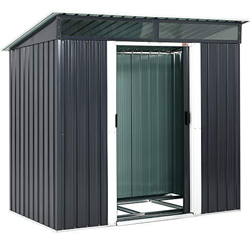 Gardebruk L Metall Gerätehaus 2m² mit Fundament 196x122x180cm 2 Fenster Anthrazit Geräteschuppen Gartenhaus...