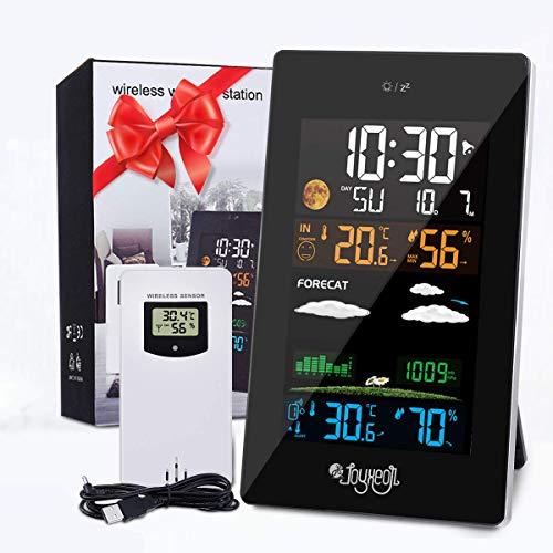 JOYXEON Wetterstation mit Außensensor 21-IN-1 Wettervorhersage mit LCD Farbdisplay Innen- und...