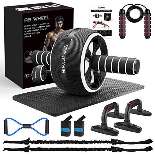 AILUKI Bauchroller, Bauchtrainer ab Roller, Bauchmuskeltrainer ab Wheel Set, mit Fitnessband,...