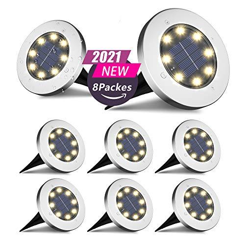 FLOWood Solar Bodenleuchte Solarleuchte für Garten Solar Außenleuchte 8 LEDs wasserdicht Edelstahl +...