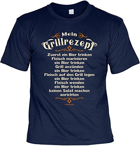 Grill T-Shirt für Männer - Mein Grillrezept - Zuerst EIN Bier - Herren Shirts blau lustiges Geschenk-Set...