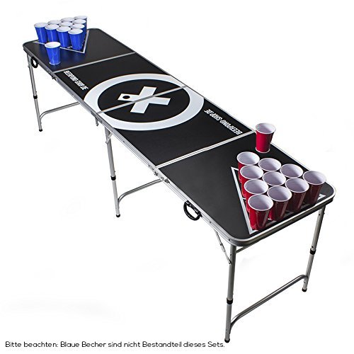 Beer Pong Tisch Set - Audio Table Design - Beer Pong Table inkl. 50 Red Cups, Ballhalter, 6 Bälle und 2...