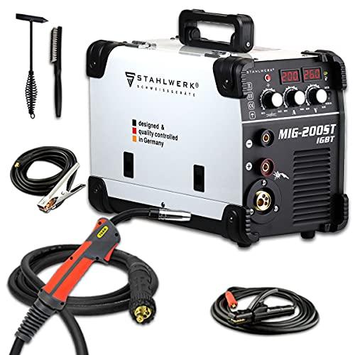 STAHLWERK MIG 200 ST IGBT - MIG MAG Schutzgas Schweißgerät mit 200 Ampere, FLUX Fülldraht geeignet, mit MMA...