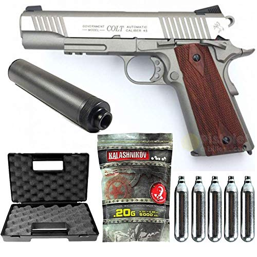 Colt-Pack 1911 Rail Gun Stainless Co2 Full Metal-cybergun 180530- Semi Automatik (0,5 Joule) -blowback-mit...