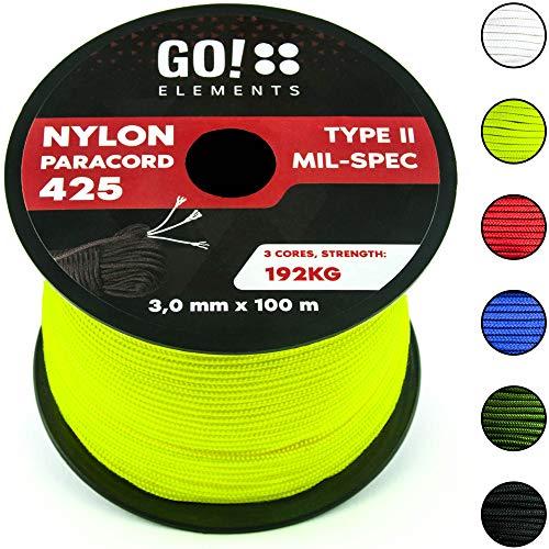 GO!elements 100m Paracord Seil aus reißfestem Nylon - 3mm Paracord 425 Typ II max. 192kg - Schnüre als...