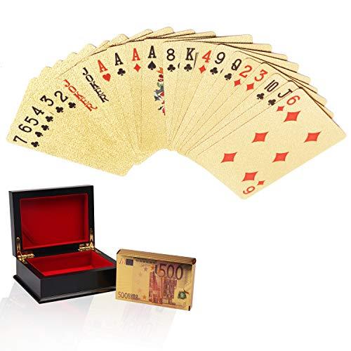 Goldfolie Pokerkarten Kartenspiel, 54 Spielkarten mit Euro Design in einer Prsentation Geschenkbox - Poker...