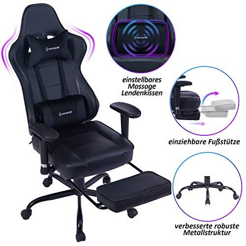 VON RACER Massage Gaming Stuhl - Hohe Rückenlehne Racing Computer Schreibtisch Bürostuhl Drehbarer...