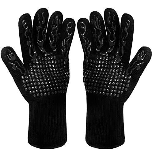Fesoar Grillhandschuhe,Ofenhandschuhe Hitzebeständig BBQ Handschuhe Kochenhandschuhe bis zu 800°C 1 Paar...