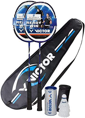 VICTOR Premium Badminton Set 2 x V-3100 inkl. Racketbag + 3 Nylonbällen - rot/blau