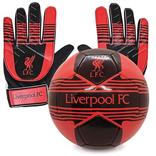 Liverpool FC - Kinder Fußball-Set - Torwarthandschuhe & Fußball - Offizielles Merchandise Größe 4 -...