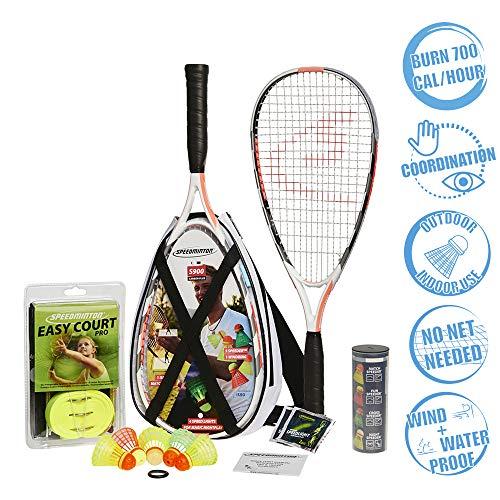 Speedminton® S900 Set – Original Speed Badminton/Crossminton Profi Set mit Carbon Schlägern inkl. 5...