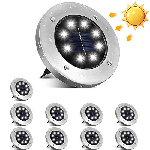 Solar Bodenleuchten, ulocool 10 Stücke Solarleuchten Solarlampen Gartenleuchten für Außen, IP65 Wasserdicht...