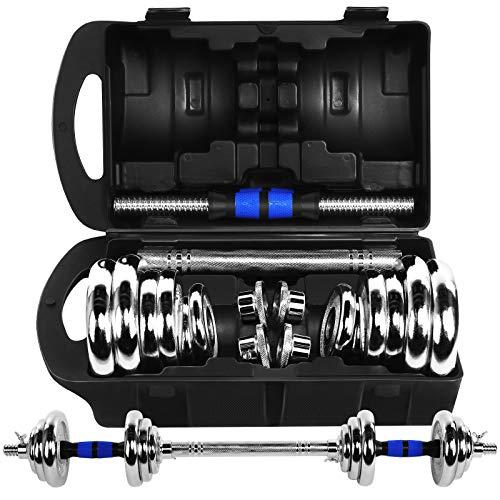 DISUPPO 20KG Hanteln Langhantel Gewicht Set Verstellbares Fitnessstudio Langhantel Bar Langhantel Set