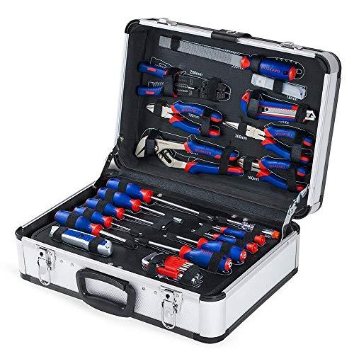 WORKPRO Haushalt Werkzeugkoffer Aluminum Werkzeugtrolley, Steckschlüssel-Satz Gabelschlüssel Universal Alu...