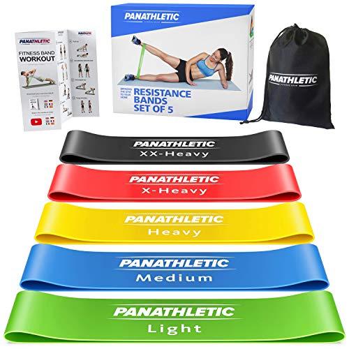 Panathletic Fitnessbänder, 5er Set – 5 Verschiedene Stärken, Übungsanleitung, eBook auf Deutsch,...