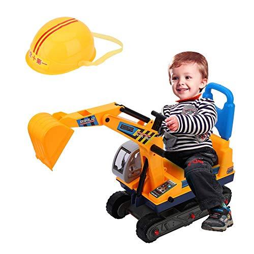 AYNEFY Bagger LKW Kinder Spielzeug Sitzbagger mit Sitz und Helm Robuster Aufsitzbagger Schaufelbagger...