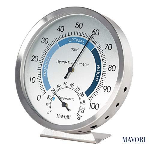 MAVORI Thermometer Hygrometer innen analog - Feuchtigkeitsmessgert aus hochwertigem Edelstahl fr eine...
