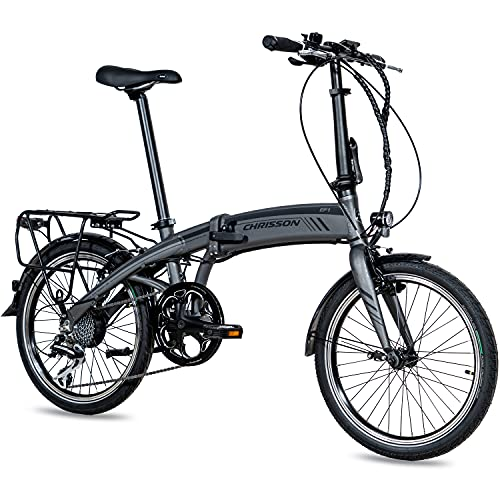 CHRISSON 20 Zoll E-Bike City Klapprad EF1 grau - E-Faltrad mit Ananda Nabenmotor 250W, 36V und 40 Nm, Pedelec...