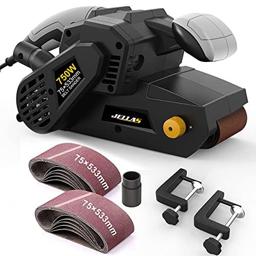 JELLAS Bandschleifer 75 mm × 533 mm mit 10-teiligen Schleifbändern und Staubbeutel, Tischschleifer mit...