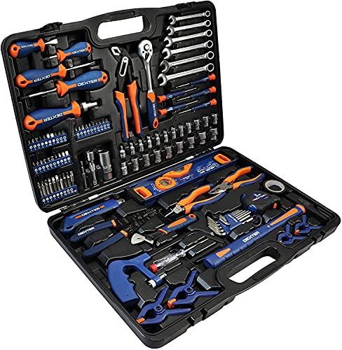 DEXTER - 108-teiliger Werkzeugkoffer - mit Zangen, Schlüssel, Schraubendreher, Metallsäge und vieles mehr -...