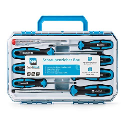 SolidWork Schraubendreher Set 8tlg in robustem Werkzeugkoffer – Magnetischer Schraubenzieher Satz aus...