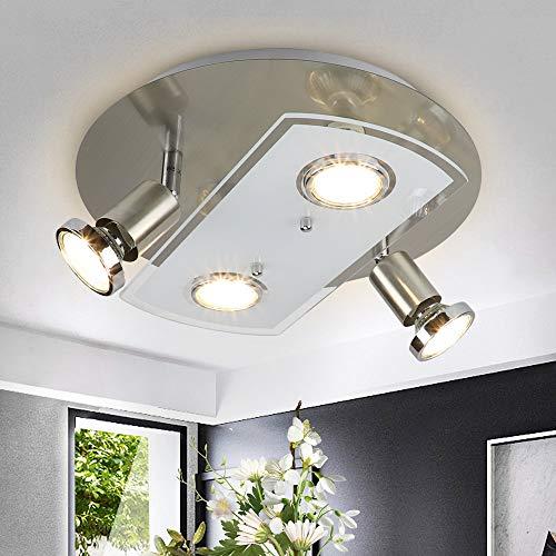 Depuley LED Deckenstrahler 4 Flammig, Schwenkbar LED Deckenleuchte, 4x5W GU10 LED Leuchtmittel, ø290mm Rund...