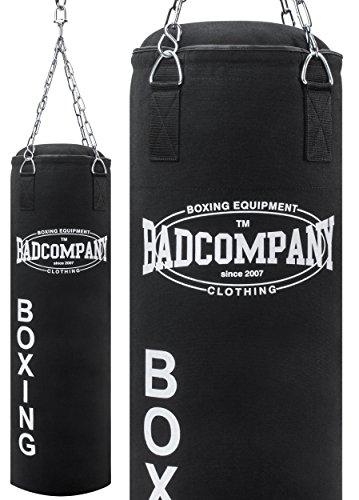 Bad Company Boxsack inkl. Vierpunkt Stahlkette I Canvas Punchingsack, gefüllt I 80 x 30 cm