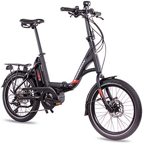 CHRISSON 20 Zoll E-Bike Klapprad EFB schwarz - E-Faltrad mit Active Line Mittelmotor 250 W 40 Nm und 9 Gang...
