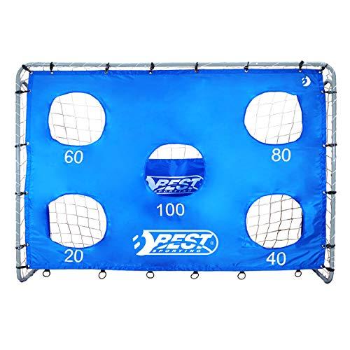 Best Sporting Fußballtor grau 240 x 170 x 85 cm sehr stabil, mit Blauer Torwand mit 5 Schusslöchern