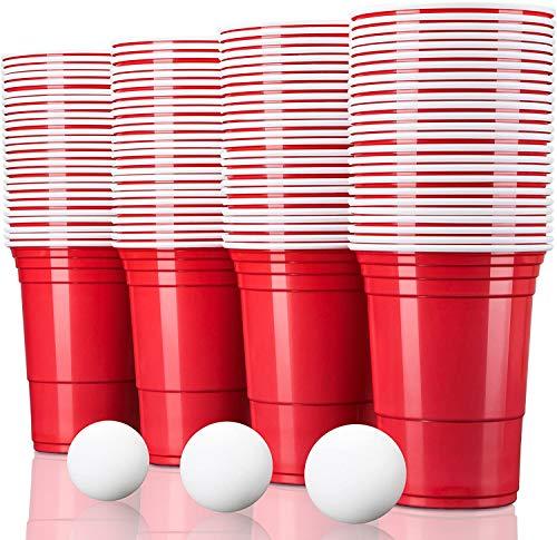 TRESKO 100 Beer Pong Becher | Partybecher 473ml - 16oz | Bierpong, Red Cups extra stark | Plastikbecher Rot