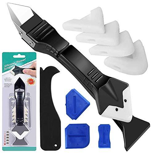 Silikonentferner Werkzeug, 3 in 1 Fugenkratzer Dichtmittelentferner Silikon Fugenwerkzeug Set, 4 Stück Blau...