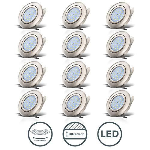 B.K.Licht I 12er Set schwenkbare LED Einbaustrahler I Ultra Flach 30mm I inkl. 12x 5W LED Module I 400lm I...