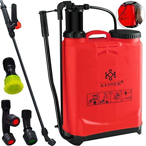 Kesser® - Drucksprüher Pflanzensprüher Rückenspritze 4 Düsen 16 Liter 1-3 Bar Ergonomisch gefromte...